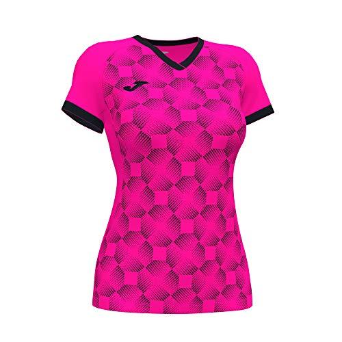 Joma Supernova III Camiseta, Rosa Flúor-Negro, XL para Mujer