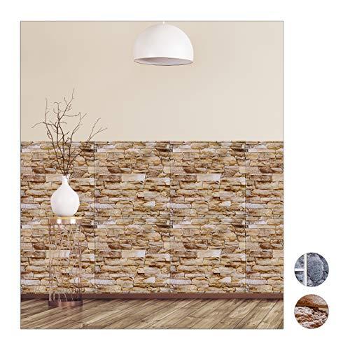 Relaxdays Wandpaneele selbstklebend im 5er Set, dekorative Steinoptik, 3D Paneele, PVC Steinwand, HxB: 50 x 50 cm, braun
