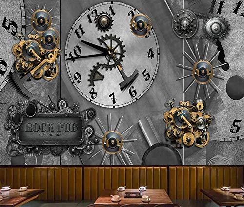 XCHBH behang zelfklevende behang muurschildering 3D muurschildering retro industriële zware metalen windklok klok muur kunst grote foto behang jongen slaapkamer kinderen binnen huis decoratie kunst 450x300 cm (WxH) 9 stripes - self-adhesive