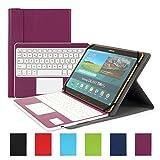 Besmall Bluetooth Tastatur mit Touchpad Deutsch Layout QWERTZ mit PU Leder Schutz Hülle mit Standfunktion für 10 Zoll Tablet (9,6/ 9,7/ 10,1 Bildschirm) Lila