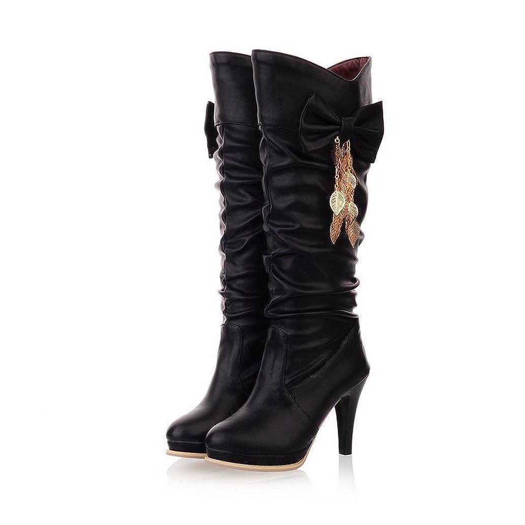 バーガー救急車排除ウィーンファッション女性用ラウンドトウハイヒールショートプラッシュSolid Boot with Bowknot