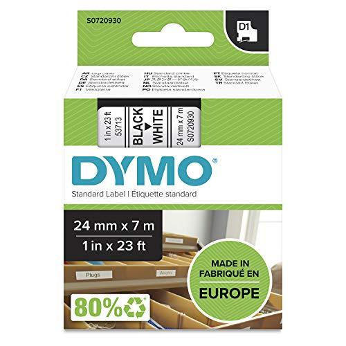 DYMO D1 - Etiquetas Auténticas, Impresión Negra sobre Fondo Blanco, 24mm×7m, Autoadhesivas para Impresoras de Etiquetas LabelManager