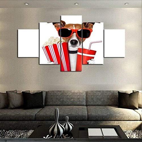 Cachorro De Perro Gafas De Sol Premios De Película Cuadro sobre Impresión Lienzo 5 Piezas Marco 150X80Cm HD Arte De Pared Modulares Sala De Estar Dormitorios Decoración para El Hogar Póster Regalo