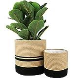 LA JOLIE MUSE- Maceta de algodón y Yute para Plantas, 30,5 + 20,5 cm, macetas Tejidas para Interiores, versátiles contenedores de Almacenamiento, Yute y Negro, Juego de 2