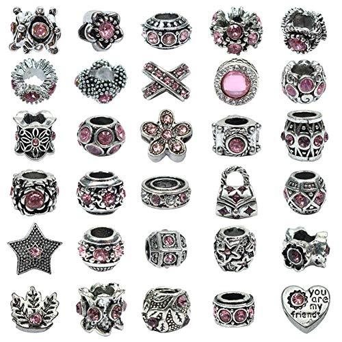 Toaab 30 abalorios de plata antigua tibetana esmaltados para mujer europea, perlas espaciadoras de aleación con estrás rosa, 14 x 10,5 mm, para fabricación de joyas, pulseras y cadena de serpiente