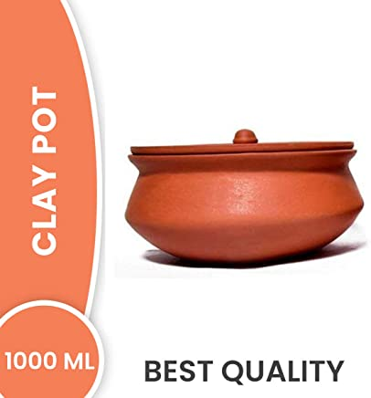 PALVIT CLAY ART GALLERY Organic Terracotta Clay Curd Pot with Lid (1 L, Brown)