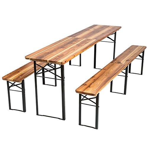 TecTake Conjunto de muebles mesa y bancos para cervecería en carpa al...