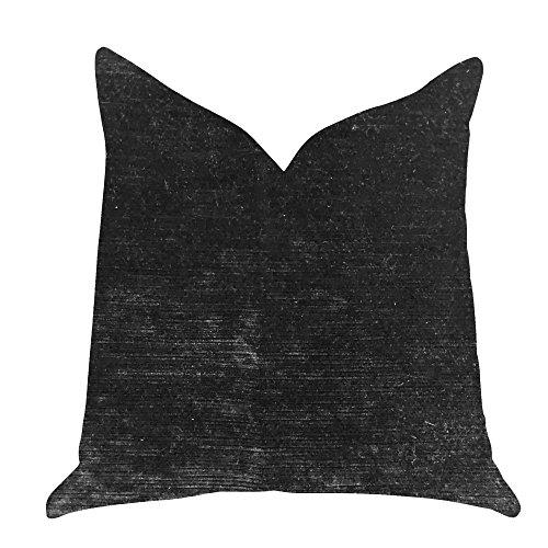 Plutus Onyx Caviar Velvet Throw Pillow in Black - Double sided 20