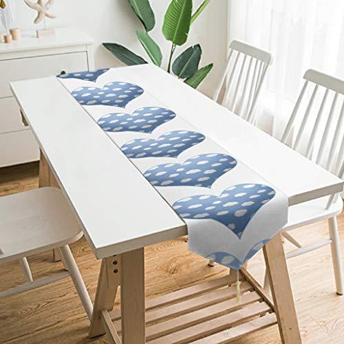 WOSITON Camino de mesa con forma de corazón hinchado para tocador, 178 x 33 cm, el mejor regalo para cumpleaños a los amantes de color blanco 178 x 33 cm