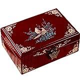 Joyero De Una Sola Capa Estuche De Laca Retro Clamshell Cofre De Credencial De Joyería De Madera para El Hogar Regalo De Boda para Damas (Color : Red, Size : 16x11x7cm)