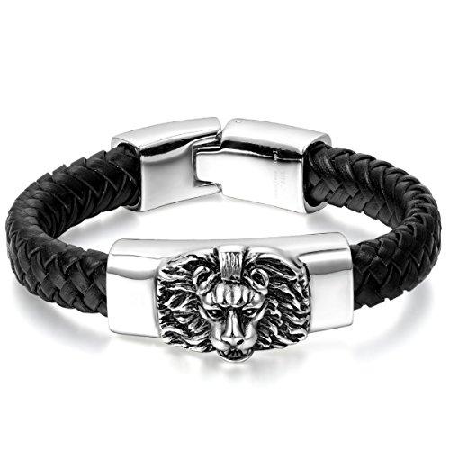 JewelryWe Schmuck Herren Armband, Gotik Löwe Geflochten Charms Armreif, Echtleder Leder Edelstahl, Schwarz Silber