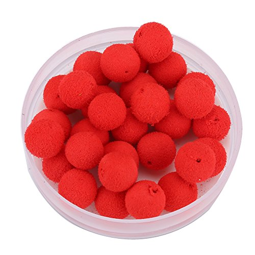 Tbest Foam Pellets In Red,30pcs 10/12mm Smell Carp Fishing Bait Foam Pop Up Soft Pellets Boilies Eggs/Floating Ball Beads Feeder Artificial Carp Baits Lure/Hair Rig (10MM-Red(Strawberry))