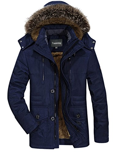 Tanming Men's Winter Warm Faux Fur Lined Coat with Detachable Hood Plus Size (Medium, Blue)