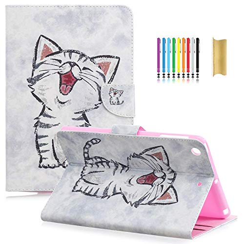 Dteck iPad Mini 1 2 3 Case - Slim Fit Folio Stand PU Leather Case with Auto Wake/Sleep Feature, Money Pocket and Card Holders Smart Cover for Apple iPad Mini 1/2/3, Happy Cat