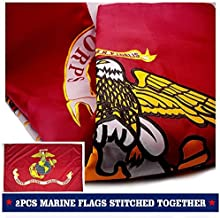 VSVO US Marine Corps USMC Flag 3x5ft. with 2-Sided Embroidered for Outdoor Use - UV Protected, Long Lasting Nylon U.S. Military Flag.