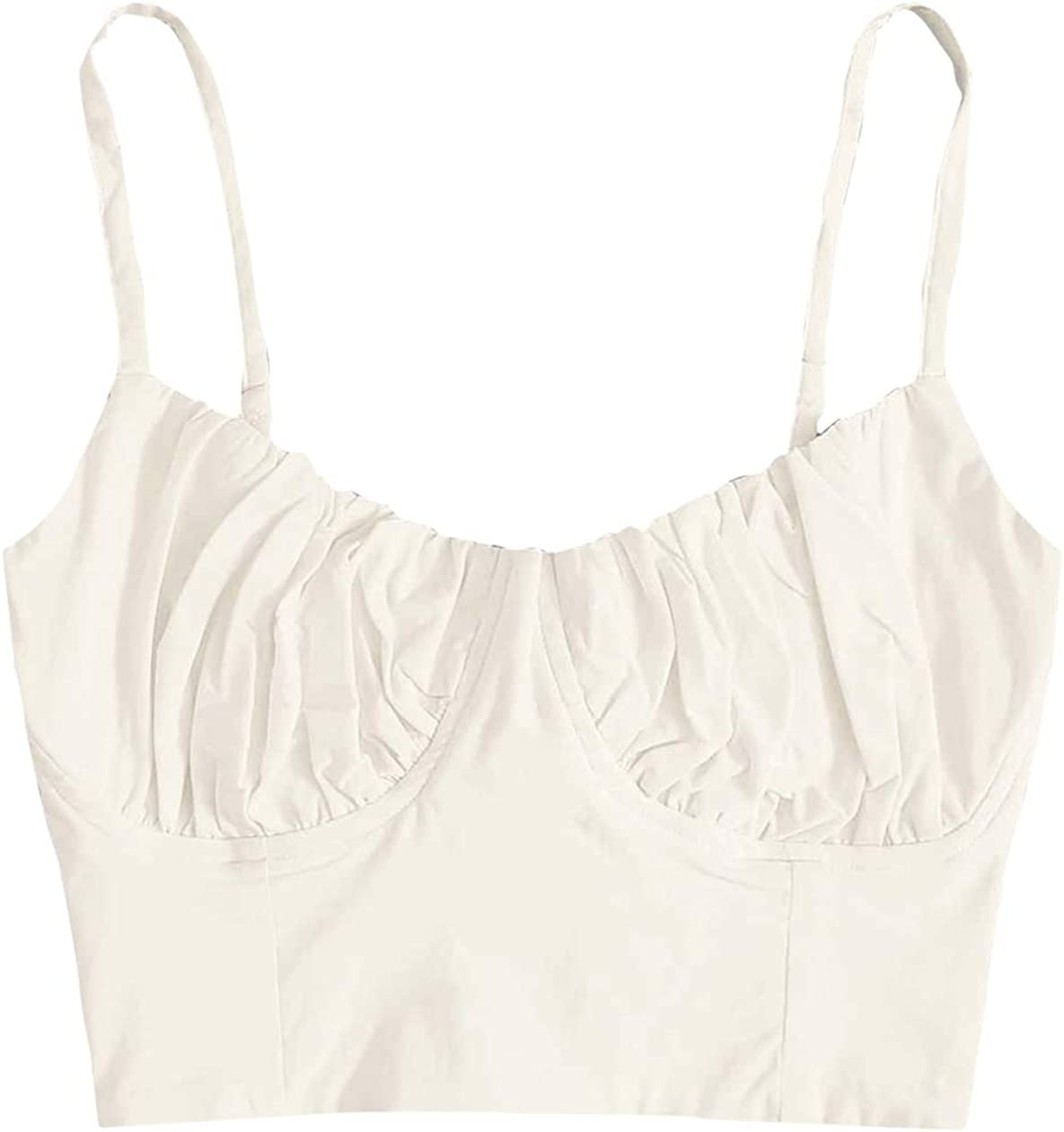 Romwe Women's Casual V Neck Sleeveless Lace Up Back Crop Cami Top Camisole