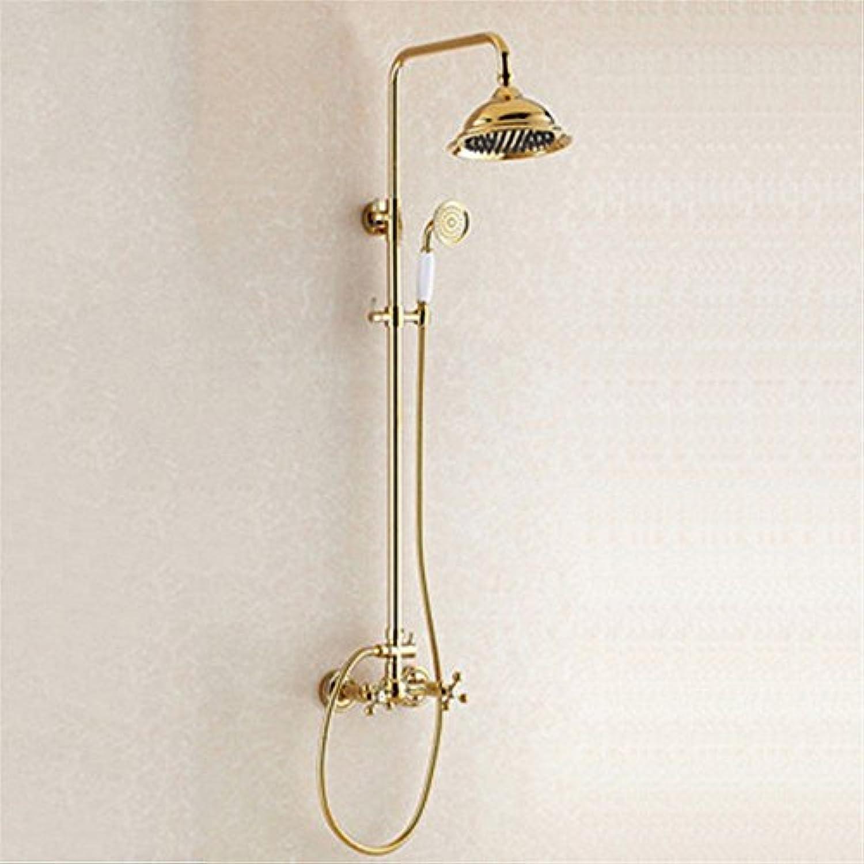 S.TWL.E Küche Küchenarmatur Waschtischarmatur Mischbatterie Spülbecken Armatur Wasserhahn Bad Gold Kupfer Retro Dusche Dusche Set verGoldete Wand montiert Regen Dusche Dusche Dusche