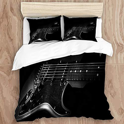 KISSENSU Funda Nórdica Cama,Rock Music Guitarra eléctrica Cartoon Kid Theme,Juego de Fundas de edredón y de Almohada de Microfibra,140 x 200 cm + 2 Fundas 50 x 80 cm