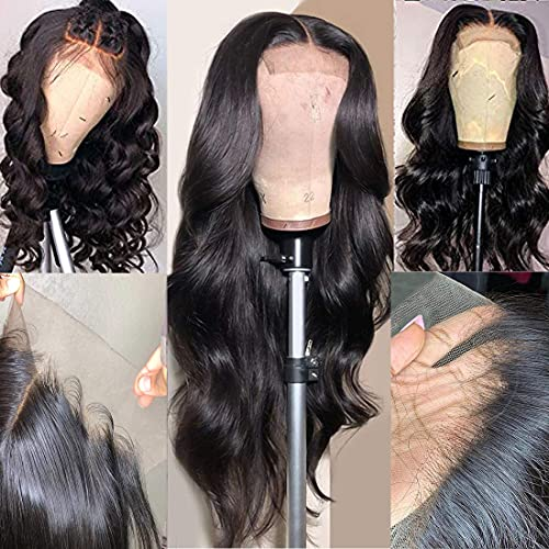 Arabella Transparent Lace Front Wigs Human Hair 10a 4x4 Transparent Lace Front Wigs Body Wave Human Hair With Baby Hair Pre Plucked Bleached Knots 150% Human Hair Wigs (22 inch, 4x4 body wave wig)