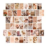 50 Pzs Collage Pared Estética, Kit de Carteles de Collage, Impresiones de Arte de Pared para Dormitorio, Colección de Fotos, Postales Estéticas, Imágenes Estéticas Beige de Ensueño para Dormitorio