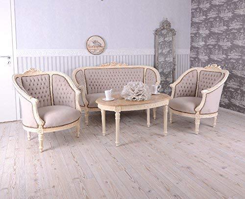 Sitzgruppe Rokoko Sofa 2 Sessel Marmor Tisch Shabby Chic Polstermöbel Palazzo Exclusiv