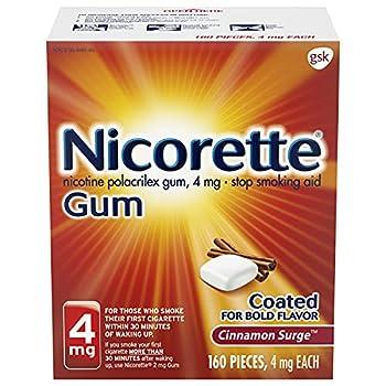 Nicorette 4mg Nicotine Gum to Quit Smoking Surge Flavored Stop Smoking Aid Cinnamon 160 Count