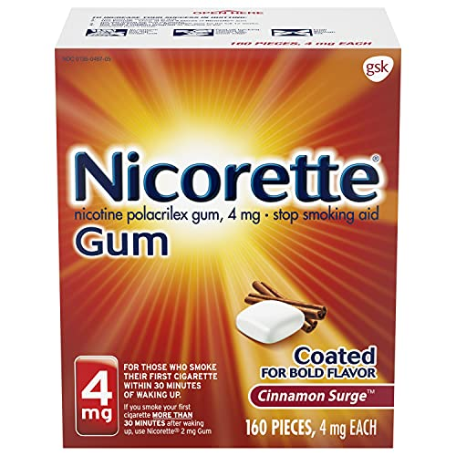Nicorette 4mg Nicotine Gum to Quit Smoking Surge Flavored Stop Smoking Aid, Cinnamon 160 Count
