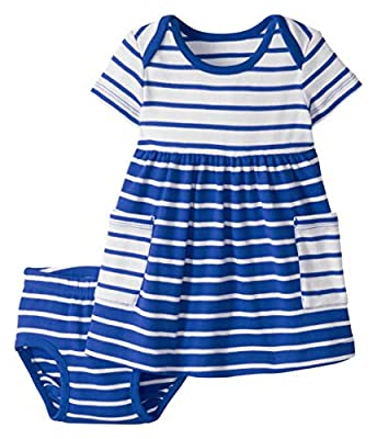 Hanna Andersson Bright Baby Basics Dress in Organic Cotton Baltic Blue - 85