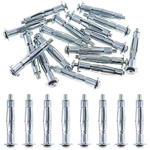 M5 x 58 Tornillos para Pladur (Paquete de 25) Tacos Metalicos de Expansion para Placa de Yeso - Acero Zincado Resistencia a la Corrosion para Paredes Secas (58mm Long) M5x58