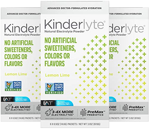 Kinderlyte Advanced Electrolyte Powder | Natural, 4-5x More Electrolytes, 80% Less Sugar | With PreMax Prebiotics | No Artificial Sweeteners, Colors or Flavors (Lemon Lime, 18 Count)