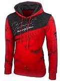 Baxboy Herren Pullover Hoodie Sweatjacke Longsleeve Sweatshirt Jacke Langarm Kapuzenpullover Hoody Sweater 2628, Farbe:Rot, Größe:L