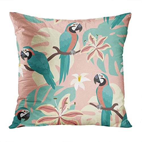 Yaxinduobao Bed Pillows Loft Pillows 18 x 18 inches Tropical Pattern Parrots Tropical Leaves Polyester Soft Square for Couch Sofa Bedroom