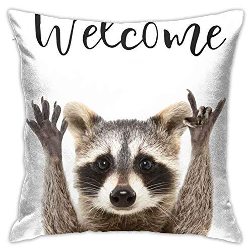 Traveler Shop Welcome Rock Raccoon Fundas de Almohada Regalos - Funda de Almohada Pooh Funda de cojín para sofá Decoración de sofá Divertido, 18 x 18 Pulgadas