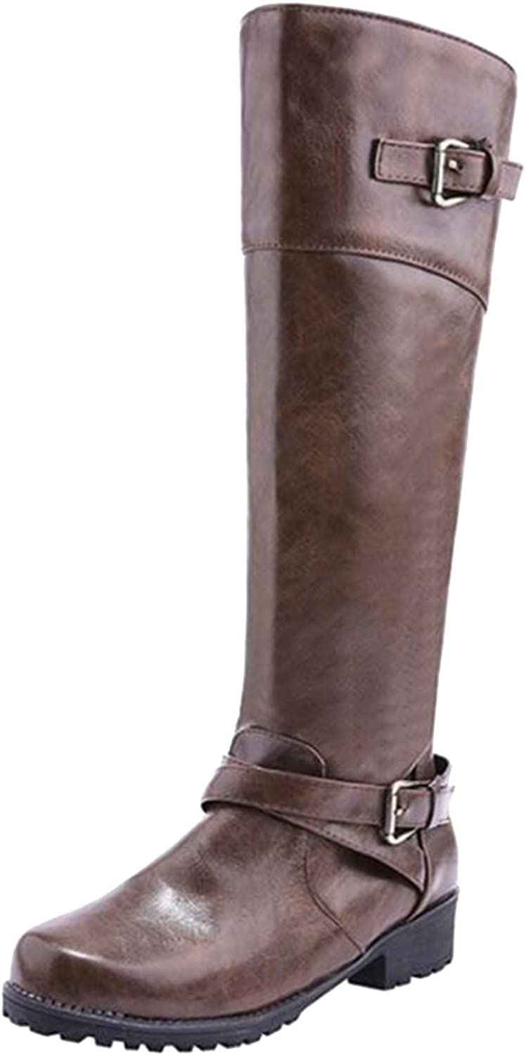 COVOYYAR Women's Double Buckle Knee High Mid Calf Riding Boots