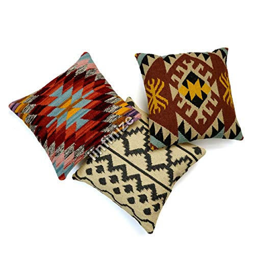 iinfinize 18x18'' Diwali Festival Jute Cushion Cover Moroccan Body Pillow Cover Vintage Bed Rest Pillow Cover Handmade Neck Cushion Cover (Beige)