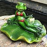 BENGKUI Skulptur,Kreative Harz Süße Schwimmende Frösche Statue Outdoor Garten Teich Dekorative Tier Skulptur Für Home Desk Garten Dekor Lustiges Geschenk, 2