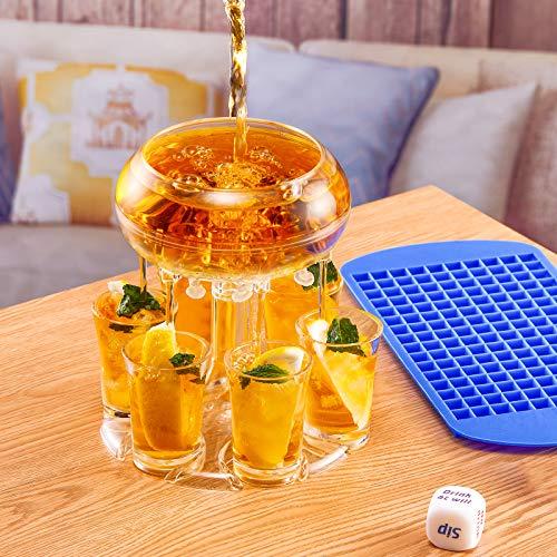 Aunicorn Dispensador de chupito con 6 dispensadores de cristal y soporte, dispensador para embotellar líquidos, juegos de beber para fiestas, decoración de bares para el hogar con forma de helado.