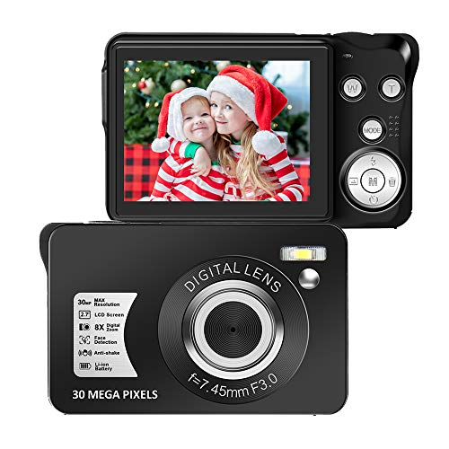 Digital Camera Vlogging Camera 1500mAh Rechargeable YouTube Camera HD 2.7K 48 Mega Pixels Compact Camera with 4X Digital Zoom and 3.0 Inch Screen for Teenagers and Beginners