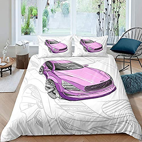 BCDJYFL Printed Duvet Cover Set Pink Car With 2 Pillowcases 3D Printed Bedding Set With Zipper Closure 3 Pieces Soft Microfiber.200X200Cm(No Comforter)