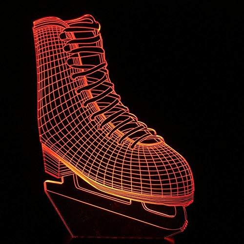 3D Nachtlicht Led Beleuchtet Bunte Acryllichter Visuelle Lichter Schlittschuhe Kleine Tischlampe Mit 3 Nachtlichtern