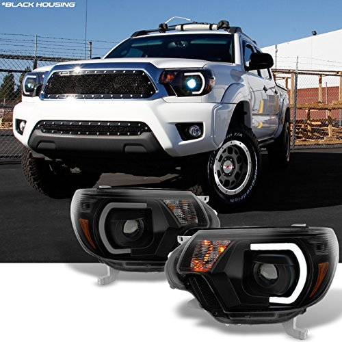 AKKON - For [TRD PRO U-Bar] [Mono-Eye] 2012 2013 2014 15 Toyota Tacoma LED DRL Projector Black Smoke Headlights