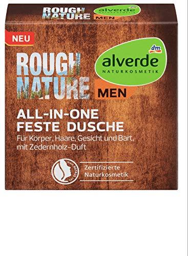 alverde MEN - Rough Nature 4in1 feste Dusche - 1 x 60 g - vegan