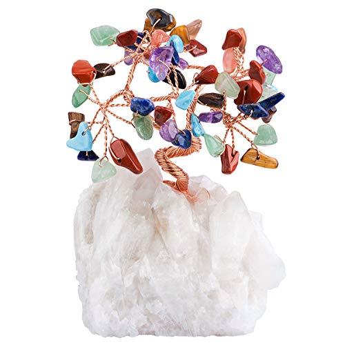 Mookaitedecor - Money Tree multicolore con cristallo di rocca come base e avvolto con filo di rame, bel simbolo di ricchezza e felicità, decorazione da ufficio