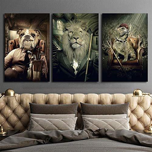 Sanfte Tiere Spielen Billard Leinwandbilder An Der Wand Kunst Poster Und Drucke Löwe Im Anzug 3 Stück Wand Picuture Home Decor 12