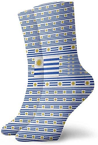 Hangdachang Calcetines de la tripulación de la bandera de Uruguay 11,8 pulgadas Calcetines divertidos casuales para botas deportivas, senderismo, correr, etc.