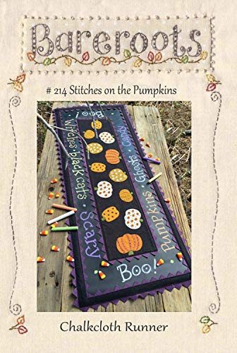 Stitches on The Pumpkin Wool Applique Pattern by Bareroots #214 Chalkcloth Runner