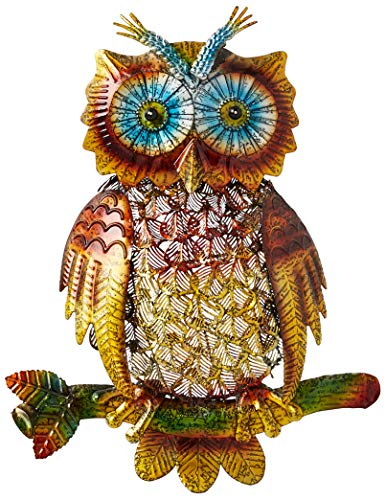 Sheerlund Products 14' Hanging Metal Owl Sculpture Wall Art/Decor, Large, Multicolored