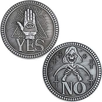 YES NO Challenge Coin Decision Maker Make Decisions and Answers Easier  Silver