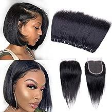 Peruvian Straight Human Hair Bundles with Closure(8