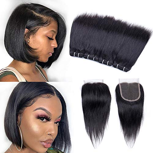 "Peruvian Straight Human Hair Bundles with Closure(8"" 8"" 8"" 8""+8""closure) Straight Hair 4 Bundles with Closure 50g/pcs Unprocessed 10A Virgin Human Hair Bundles and Closure 5 Bundle Deals"